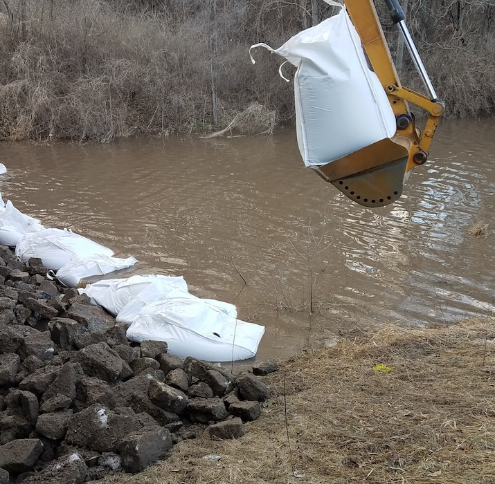 Photo documents runoff event activities at levee R616-613 near Plattsmouth, Nebraska Mar. 16, 2019. (Photo by USACE, Omaha District).