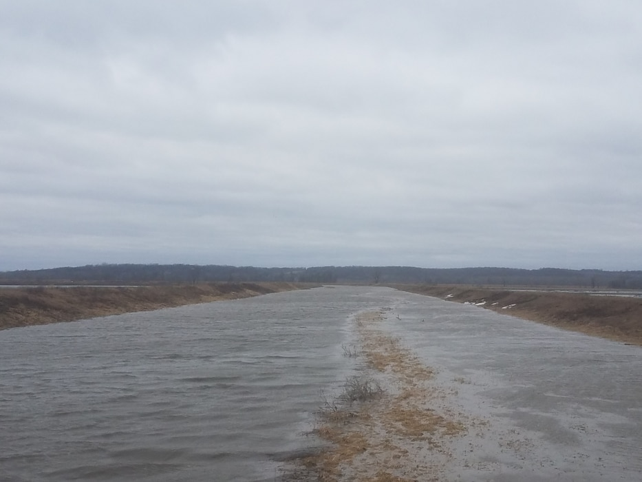 Photo documents levee L594 breach near Fremont, IA Mar. 14, 2019. (Photo by USACE, Omaha District).