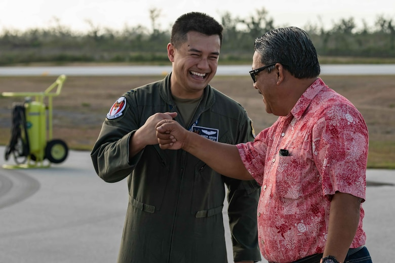 U.S. Air Force Capt. Celestino Aguon meets with Tinian Mayor Edwin P. Aldan at Tinian International Airport, Tinian, during exercise Resilient Typhoon, April 23, 2019.  The exercise was designed to increase Pacific Air Forces' ability to rapidly deploy and operate from airfields throughout the region.  (U.S. Air Force photo by Airman 1st Class Matthew Seefeldt)