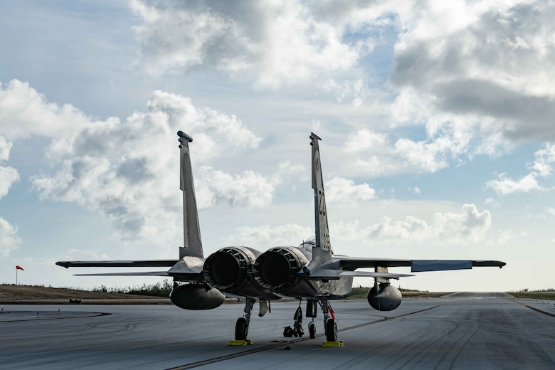 An F-15C Eagle from the 44th Fighter Squadron, Kadena Air Base, Japan, sits on the taxiway at Tinian International Airport, Tinian, during exercise Resilient Typhoon, April 23, 2019.  While on-ground, Airmen both practiced new fueling techniques for the jet aircraft and hosted a static display for local residents.  (U.S. Air Force photo by Airman 1st Class Matthew Seefeldt)