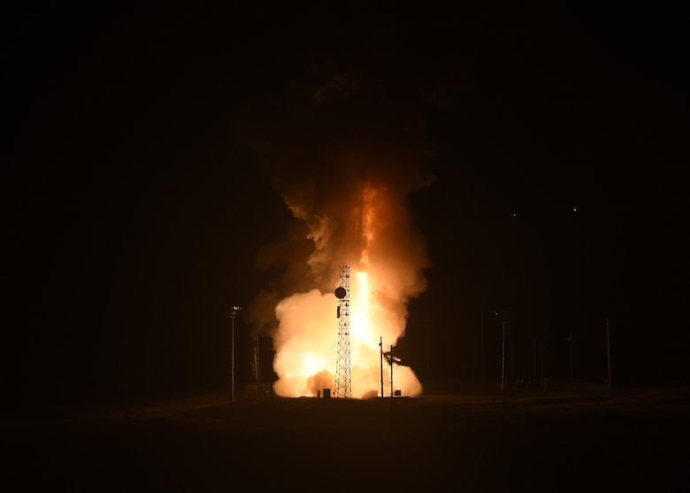 An unarmed Minuteman III intercontinental ballistic missile launches during an operational test at 2:42 A.M. Pacific Time May 1, 2019, at Vandenberg Air Force Base, Calif. (U.S. Air Force photo by Staff Sgt. Brittany E. N. Murphy)