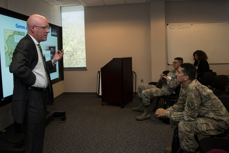 Dr. W. Lewis Johnson, president and CEO of Alelo Inc. leads one of the many sessions provided by the Language, Regional Expertise and Cultural Symposium, March 28, 2019, Maxwell Air Force Base, Alabama. The title of Johnson's session was Virtual Cultural Awareness Trainers (VCATs): Partnering to Deliver Mission-Critical Cultural Awareness Training. (U.S. Air Force photo by Senior Airman Alexa Culbert)