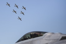 The Geico Skytypers, also known as the T-6 Texans, practice routine flight patterns above Marine Corps Air Station (MCAS) during the 2019 MCAS Beaufort Air Show, April 27. MCAS Beaufort hosts the air show in order to bring the community together and demonstrate U.S. Marine Corps Aviation Combat Element and Marine Air-Ground Task Force capabilities. (U.S. Marine Corps photo by Sgt. Brittney Vella