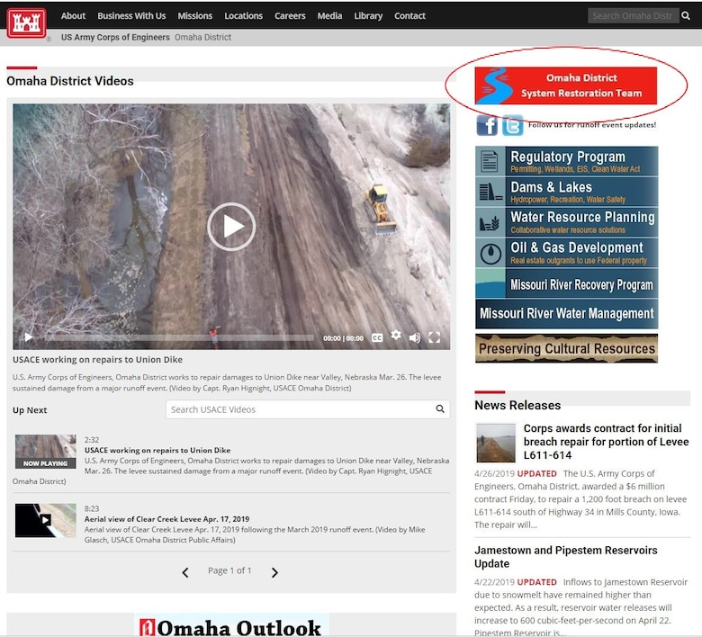 USACE Omaha District Web Page