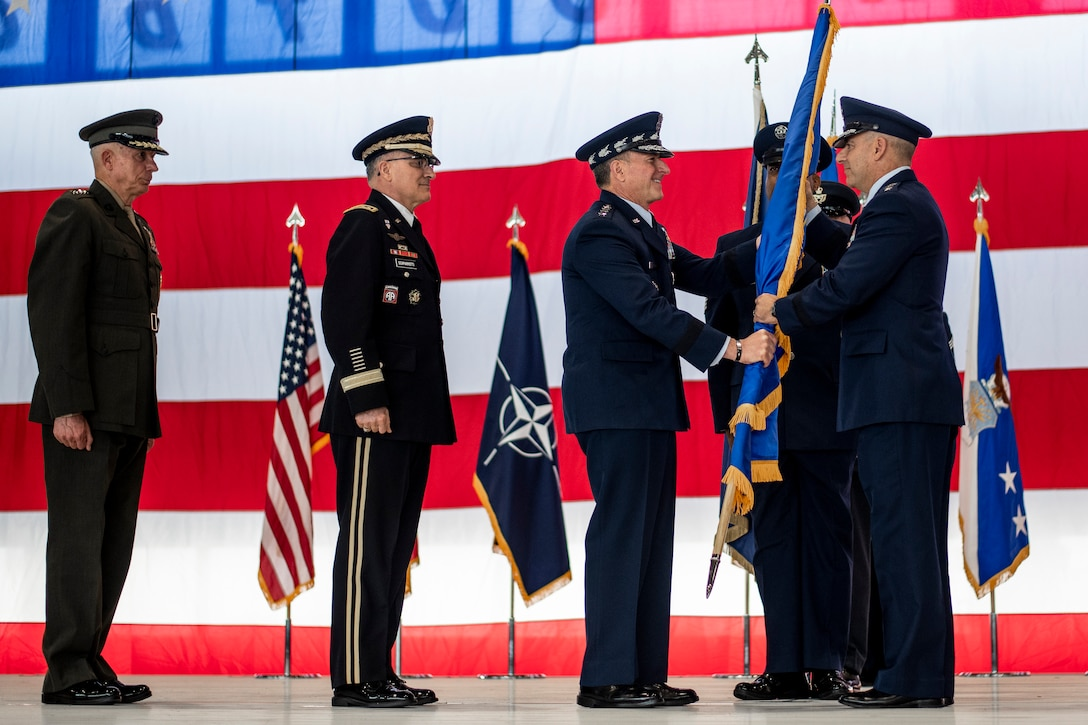 Gen. Harrigian takes command of USAFE-AFAFRICA during change of command ceremony.