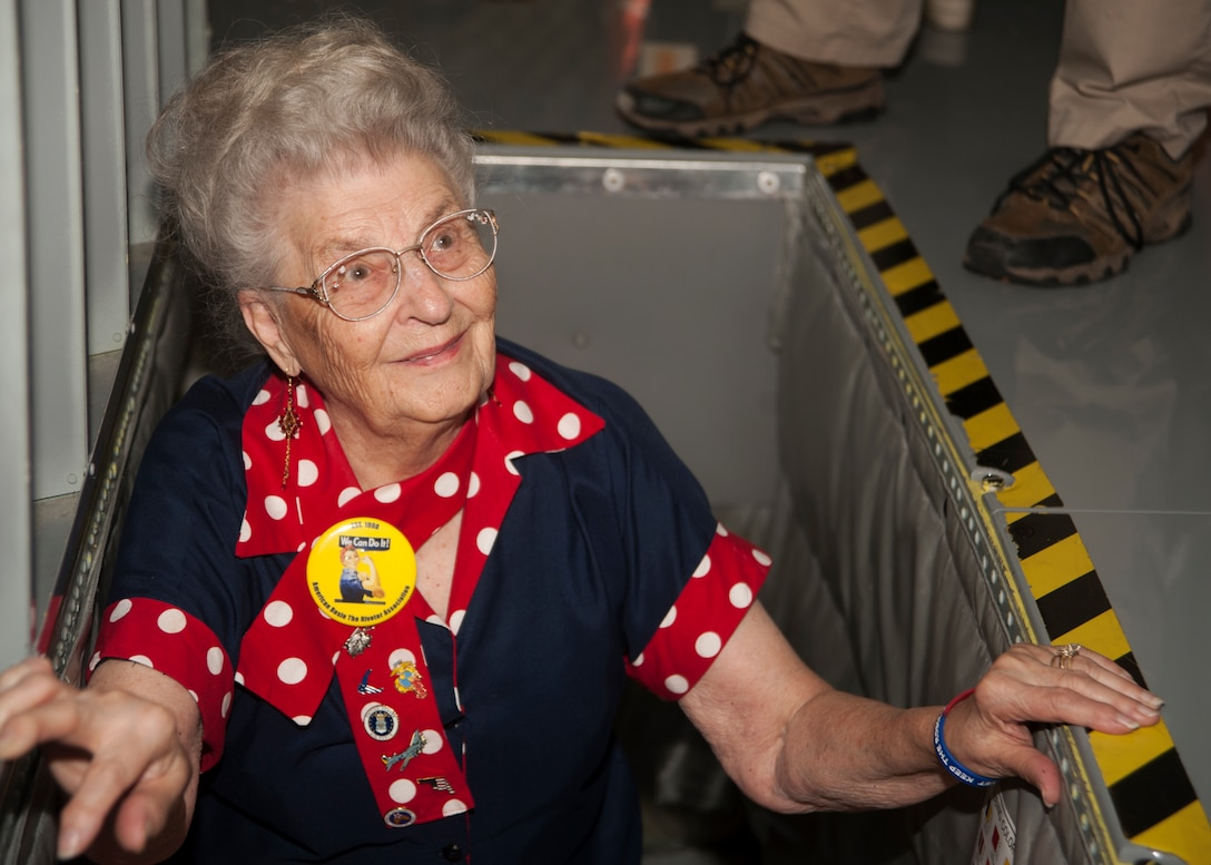 """Mae Krier, an original """"Rosie the Riveter"""" who helped build B-17s and B-29s during WWII, comes up from the boom pod in a KC-135 Stratotanker while on a tour at the 459th Air Refueling Wing at Joint Base Andrews, Md., April 30, 2019. Krier led a successful campaign for National Rosie the Riveter Day which led to a unanimous Congressional approval in 2017. It is now observed during Women's History Month on March 21. (U.S. Air Force photo by Staff Sgt. Cierra Presentado)"""