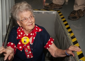 "Mae Krier, an original ""Rosie the Riveter"" who helped build B-17s and B-29s during WWII, comes up from the boom pod in a KC-135 Stratotanker while on a tour at the 459th Air Refueling Wing at Joint Base Andrews, Md., April 30, 2019. Krier led a successful campaign for National Rosie the Riveter Day which led to a unanimous Congressional approval in 2017. It is now observed during Women's History Month on March 21. (U.S. Air Force photo by Staff Sgt. Cierra Presentado)"