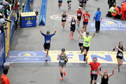 Lt. Col. (Dr.) Trevor Lim (left), 59th Medical Wing Radiation Oncology chief, completed the 2019 Boston Marathon April 15 in Boston, Massachusetts. Lim completed the race in the top 28 percent of overall finishers with a run time of 3:24:49.