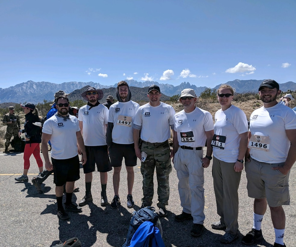 The Albuquerque District team at a water break at the 18-mile , mark, March 2019.