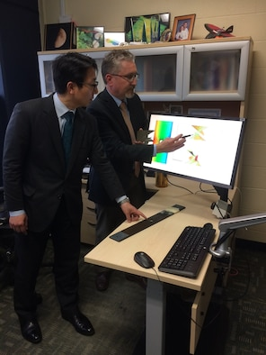 Dr. Keisuke Umezawa and Dr. David Mollenhauer partner to research usability, capability and needs of research software. (U.S. Air Force photo/Donna Lindner)