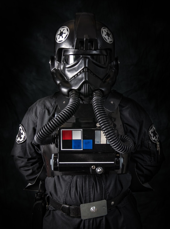 Tech. Sgt. Chris Fagan poses for a portrait in his Star Wars Tie Fighter Pilot costume