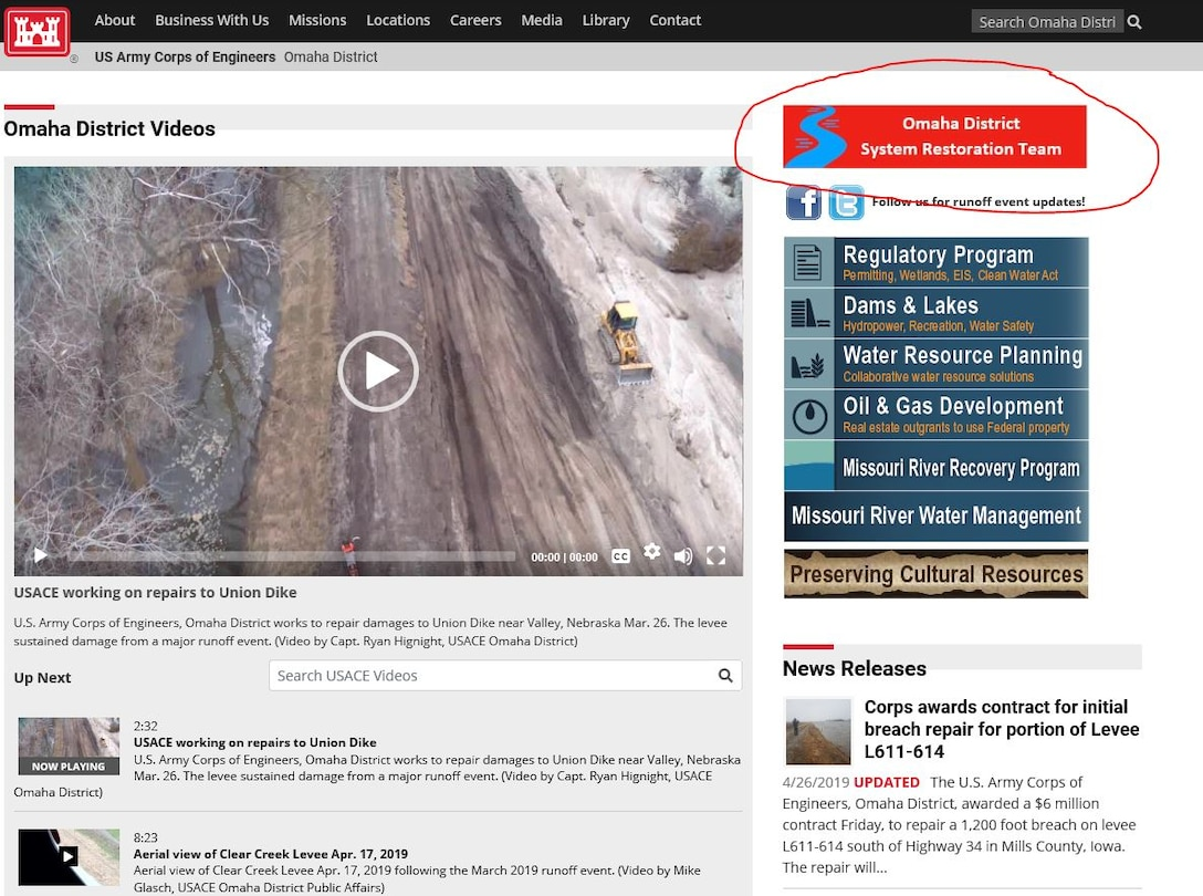 USACE Omaha District homepage depicting area to click on for Omaha District System Restoration Team.