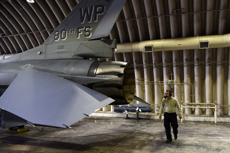 U.S. Air Force Senior Airman Jacob Davignon, 35th Air Maintenance Unit assistant dedicated crew chief, inspects an F-16 Fighting Falcon prior to flight at Kunsan Air Base, Republic of Korea, April 24, 2019. The 35th AMU is responsible for the repairs to the 35th Fighter Squadron's F-16 and occasionally the 80th Fighter Squadron's aircraft. (U.S. Air Force photo by Staff Sgt. Joshua Edwards)