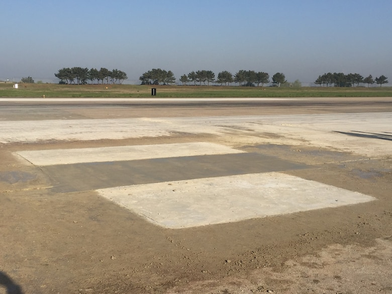 The 8th Civil Engineer Squadron, the Legendary Red Devils, completed a repair on a 7 foot by 8 foot surface and 4 foot deep sinkhole on the runway at Kunsan Air Base, Republic of Korea, May 2, 2019. The 8th Civil Engineer Squadron and 8th Logistics Readiness Squadron made the flight line operational again just 24 hours after it was shut down to repair a sinkhole. (Courtesy photo)