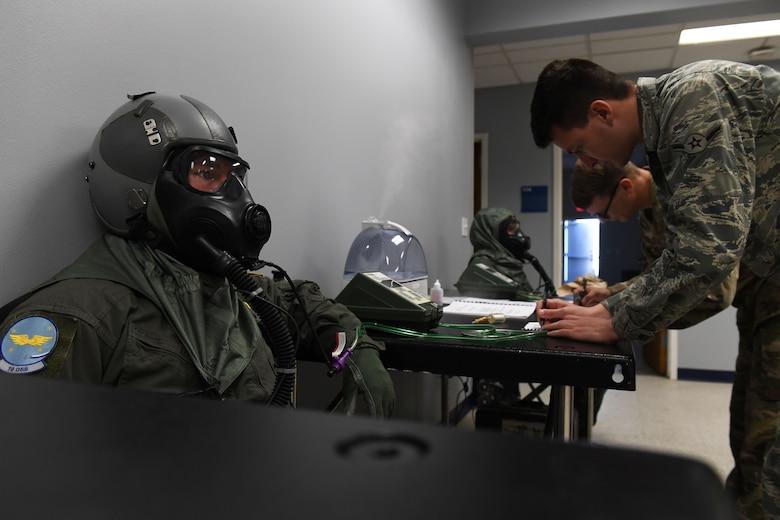 A pilot does a gas mask fit test