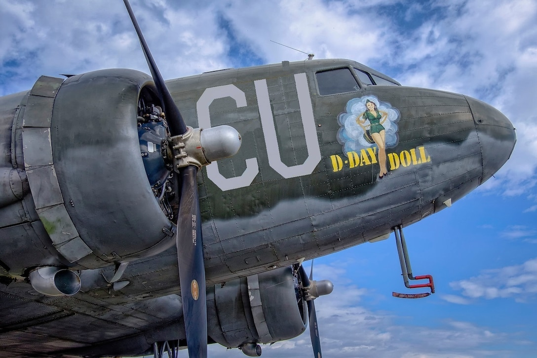 Paratroopers are scheduled to jump out of a C-53D Skytrooper named D-Day Doll as it flies over the skies of the National Museum of the U.S. Air Force on May 13 at approximately 10 a.m. as part of the events commemorating the 75th Anniversary of D-Day. D-Day Doll participated in the Normandy invasion in 1944 by dropping paratroopers, towing gliders, flying supplies and evacuating the wounded.(contributed photo)
