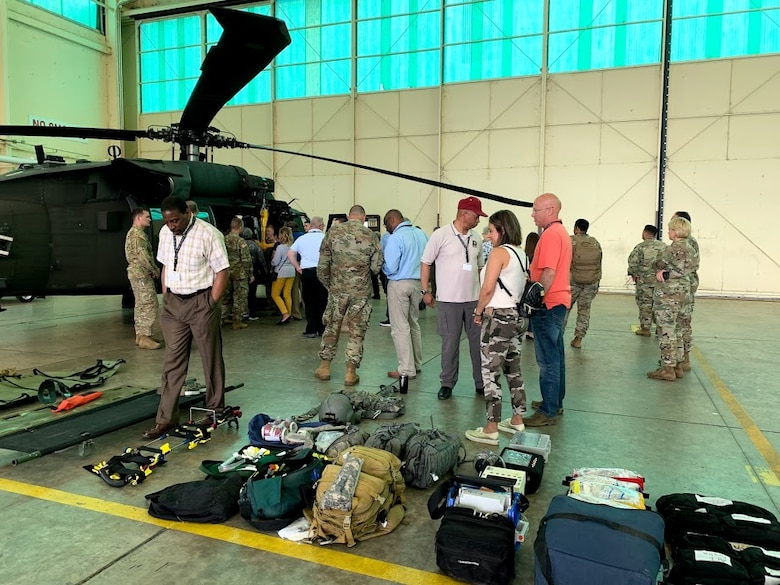 Attendees of the Army Educator Tour had an opportunity to tour the inside of a UH-60 helicopter during the Army Educator Tour.