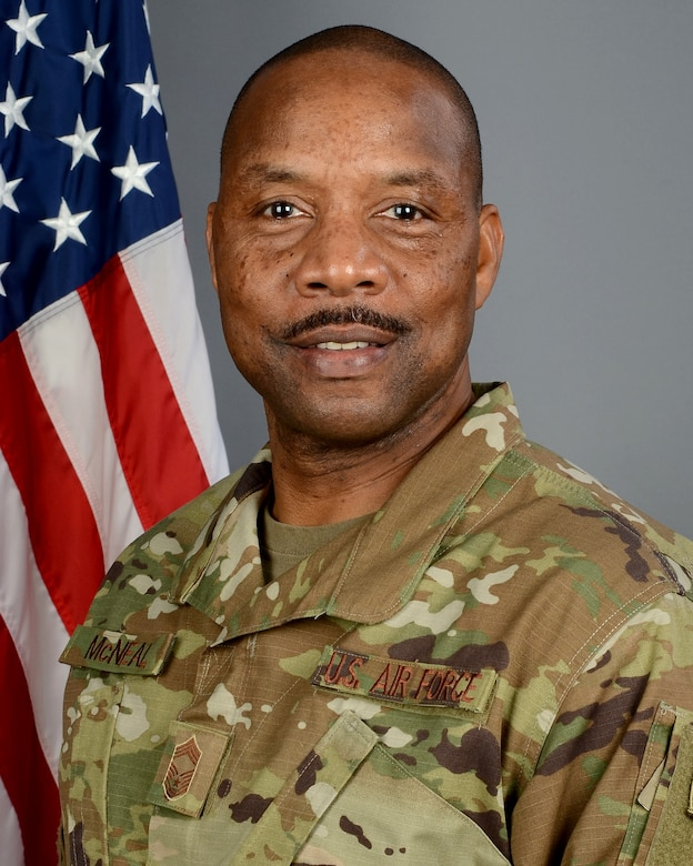 Portrait of U.S. Air Force Chief Master Sgt. Robert McNeal, the 169th Security Forces Squadron superintendent at McEntire Joint National Guard Base, South Carolina Air National Guard, Jan. 3, 2019.  (U.S. Air National Guard photo by Master Sgt. Caycee Watson)