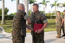 MSgt Nathen M. Emmons received the Meritorious Service Medal as his tour with U.S. Marine Corps Forces, South came to an end, April 30, 2019.