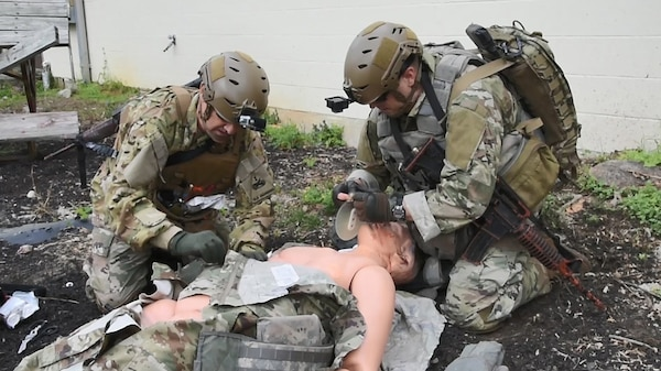 Instructors from the Tactical Combat Medical Care Course, or TCMCC,reenact a trauma scenario consisting of two segments - Care Under Fire and Tactical Field Care. The course is geared toward medical doctors, physician's assistants, nurses and senior medics in preparation for deployment to hostile environments. TCMCC prepares students for potential injuries and wounds they might encounter on the battlefield. The intense 5-day course is offered several times a year and is held at Joint Base San Antonio-Fort Sam Houston and JBSA-Camp Bullis.