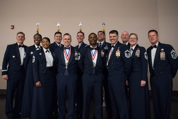 Air Force Global Strike Command's six Outstanding Airmen of the Year award winners pose with other Airmen from AFGSC at the AFGSC Outstanding Airmen of the Year award ceremony April 15, 2019, at Barksdale Air Force Base, La. The ceremony was hosted in honor of six Airmen who were selected as the most outstanding Airmen throughout AFGSC. (U.S. Air Force photo by Airman Jacob B. Wrightsman)