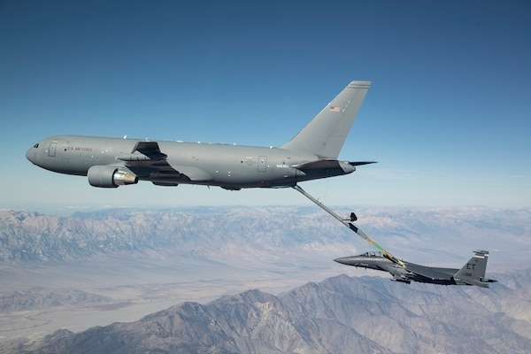 KC-46 Pegasus refueling F-15E Strike Eagle.