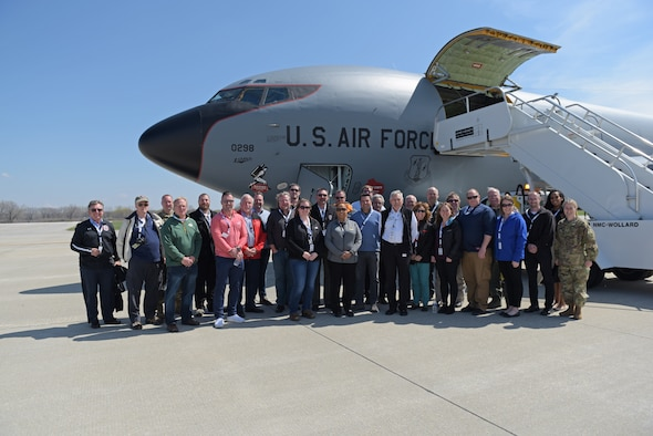 Employers submitted to attend a Madison Boss Lift pose for a group photo in front of a 128th Air Refueling Wing Boeing KC-135 Stratotanker. A group of approximately 20 employers attended the Madison Boss Lift, hosted by Wisconsin Employer Support of the Guard and Reserve Wednesday April, 24 2019 at Truax Field, Madison Wisconsin. (U.S. Air National Guard photo by Tech. Sgt. Mary Greenwood)