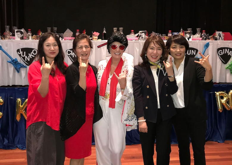 Cindy Wilsbach (center), spouse of Lt. Gen. Kenneth Wilsbach, Seventh Air Force commander poses with Chang, Yun-Jung (center-right), spouse of the Lt. Gen. Keon Wan Lee, Republic of Korea Air Force Operations Center commander and other Korean spouses during the inaugural Osan Spouses' Dining-in at Osan Air Base, ROK April 27. 7th AF and 51st Fighter Wing senior leader spouses co-hosted the bilateral event to strengthen the Alliance, while also extending military traditions to those who don't wear the uniform. The event honored the service and sacrifices spouse make to the mission and served as an early celebration for Military Spouse Appreciation Day on May 10. (Courtesy Photo)