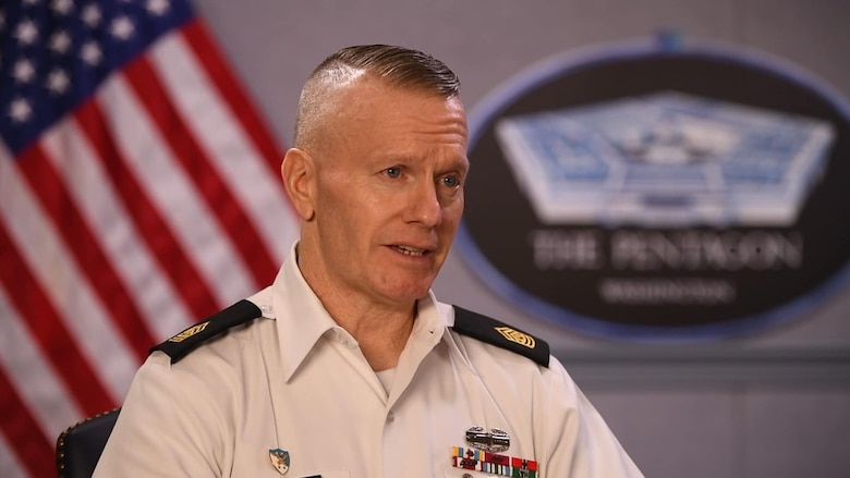 Army Command Sgt. Maj. John Wayne Troxell, senior enlisted advisor to the chairman of the Joint Chiefs of Staff, speaks of the responsibility of leaders — especially junior leaders — to set the example and foster an environment of dignity and respect in their command during a video interview on sexual assault prevention and response in the Department of Defense.