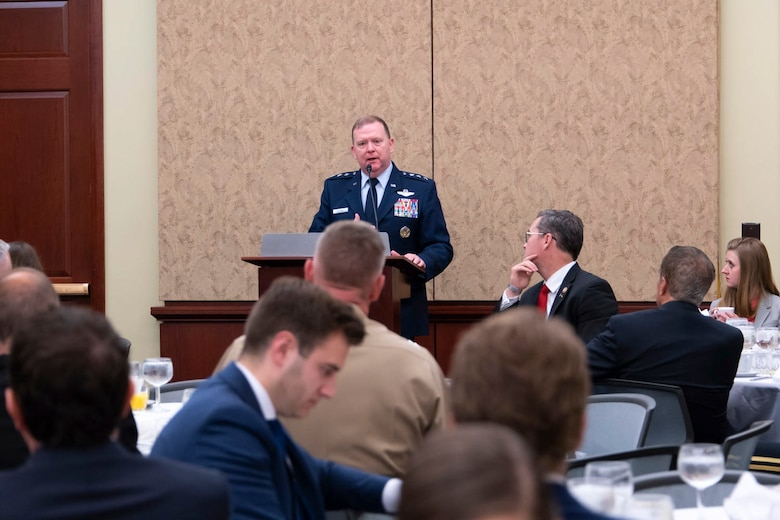 Lt. Gen. Richard W. Scobee, Chief of Air Force Reserve, Headquarters U.S. Air Force, Washington, D.C., and Commander, Air Force Reserve Command, Robins Air Force Base, Georgia, speaks to the audience at the House National Guard and Reserve Component Caucus Breakfast at the U.S. Capitol, Washington D.C., April 30, 2019. Senior leaders from each component discussed their top issues and Scobee highlighted the importance of retaining Airmen in today's Air Force Reserve. (U.S. Air Force photo by SrA Andreaa Phillips)