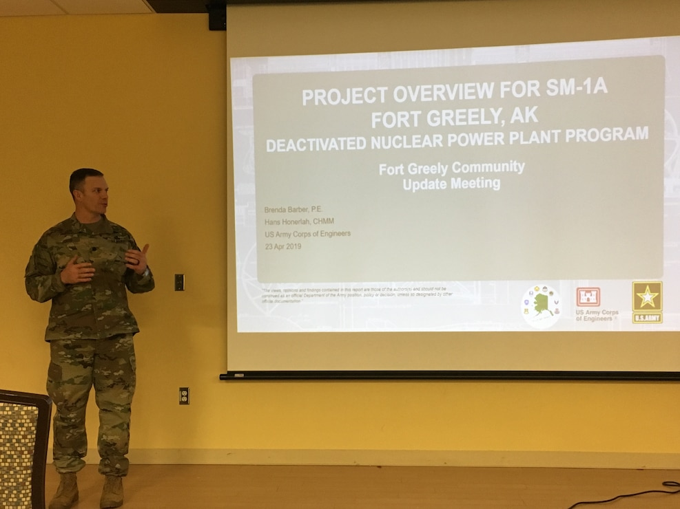 Fort Greely Garrison Commander Lt. Col. Michael Foote introduces SM-1A Project Manager Brenda Barber and Radiological Health Physicist Hans Honerlah from the U.S. Army Corps of Engineers at an on-post community update meeting Tuesday evening April 23, 2019, where members of the Fort Greely community had an opportunity to learn more about the planning for the decommissioning of the SM-1A deactivated nuclear power plant. The SM-1A project team is committed to transparently sharing accurate information in a timely manner throughout the course of the project and among all relevant parties, making sure concerns among stakeholders are quickly addressed.