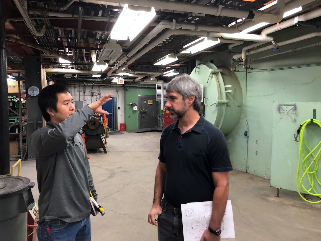 U.S. Army Corps of Engineers, Alaska District Electrical Engineer Zachary Sam and Chief of Mechanical Engineering Brent Goering discuss the final decommissioning of the SM-1A deactivated nuclear power plant during a site visit Wednesday April 24, 2019. U.S. Army Corps of Engineers, Baltimore District, with its Radiological Center of Expertise, and Alaska District personnel are working together closely in partnership on the SM-1A decommissioning at Fort Greely in Alaska.