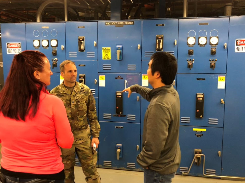 U.S. Army Corps of Engineers, Alaska District Electrical Engineer Zachary Sam talks explains work assessing switch boxes Wednesday April 24, 2019 to U.S. Army Corps of Engineers, Baltimore District Project Manager Brenda Barber and Baltimore District Commander Col. John Litz at the facility where the final decommissioning of the SM-1A deactivated nuclear power plant will take place. Part of the effort will involve segregating components of the co-located, still operational steam plant from where the decommissioning will take place. U.S. Army Corps of Engineers, Baltimore District, with its Radiological Center of Expertise, and Alaska District personnel are working together closely in partnership on the SM-1A decommissioning at Fort Greely in Alaska.
