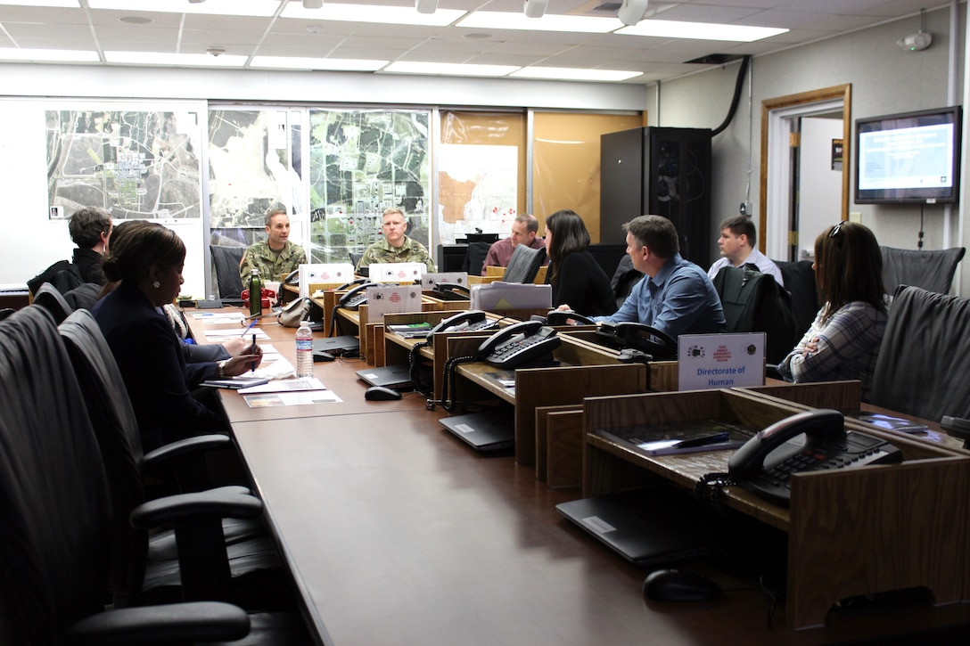 U.S. Army Corps of Engineers, Baltimore District Commander Col. John Litz and Alaska District Commander Col. Phillip Borders discuss ongoing planning efforts for the final decommissioning of the SM-1A deactivated nuclear power plant during a briefing ahead of a site tour Thursday April 25, 2019, that included staffers from the offices of Alaska Sens. Lisa Murkowski and Dan Sullivan and Rep. Paul Young as well as personnel from the U.S. Army Corps of Engineers Baltimore District and Alaska District and Fort Greely. The SM-1A project team is committed to transparently sharing accurate information in a timely manner throughout the course of the project and among all relevant parties, making sure concerns among stakeholders are quickly addressed.