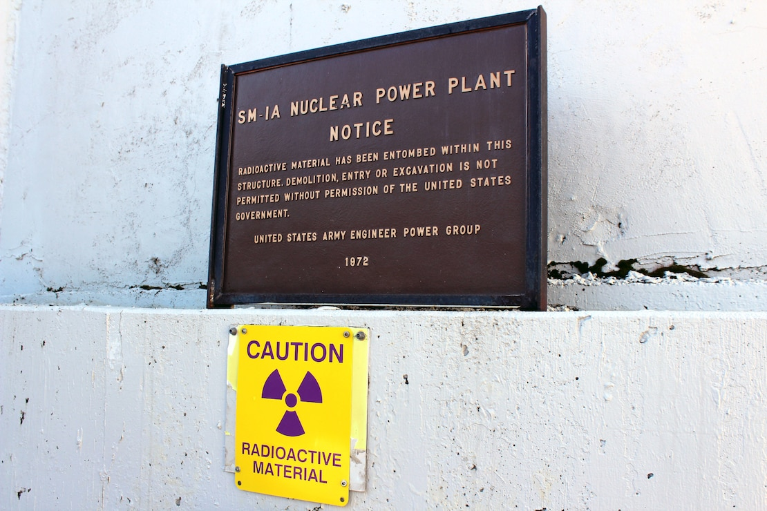 A time capsule, located outside of the containment vessel of the deactivated generator for the SM-1A Deactivated Nuclear Power Plant, is featured during a site tour April 24, 2019. Located at Fort Greely, the SM-1A Deactivated Nuclear Power Plant is in the planning stage of being decommissioned and dismantled. The SM-1A project team is committed to transparently sharing accurate information in a timely manner throughout the course of the project and among all relevant parties, making sure concerns among stakeholders are quickly addressed.