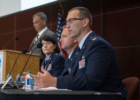 Col. Brent Hyden, Tyndall Program Management Office director at Tyndall Air Force Base, Florida, answers a question from one of the more than 500 attendees at an industry day May 2, 2019. at Florida State University-Panama City. Air Force leaders presented briefings and held a panel discussion to update industry representatives about the rebuilding to date and future plans for the base, which was devastated by Hurricane Michael Oct. 10, 2018. (U.S. Air Force photo by Airman 1st Class Monica Roybal)