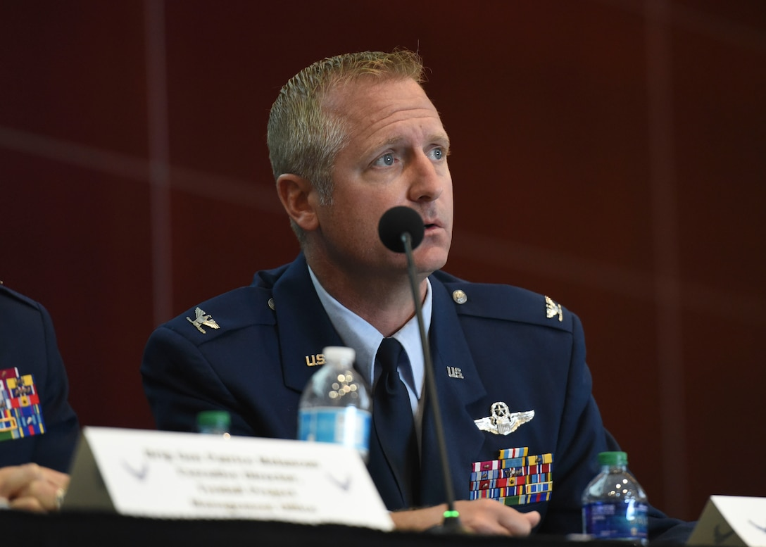 Col. Brian Laidlaw, 325th Fighter Wing Commander, participates in a panel discussion with other Air Force leader during the second Tyndall Industry Day May 2, 2019, in Panama City, Florida. Laidlaw also provided a state-of-the-installation briefing to more than 500 attendees interested in partnering with the Air Force to rebuild the base that was destroyed by Hurricane Michael Oct. 10, 2018. (U.S. Air Force photo by Airman 1st Class Monica Roybal)