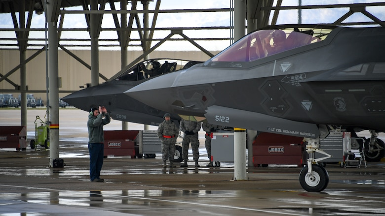 A crew chief launches an F-35A during a combat exercise at Hill Air Force Base, Utah, May 1, 2019.
