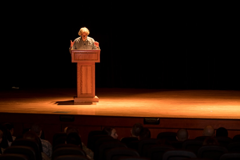 Theodore Rosengarten, College of Charleston Zucker and Goldberg Chair of Holocaust Studies, tells the history of the Holocaust to Airmen during Holocaust Remembrance Week May 2, 2019, at Joint Base Charleston, S.C.