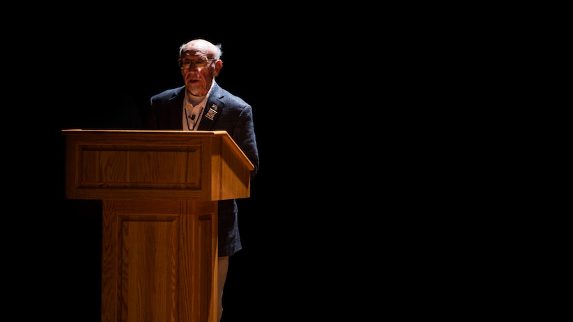 Joe Engel, Holocaust survivor, tells his story of being in concentration camps to an audience of Airmen as part of Holocaust Remembrance Week May 2, 2019, at Joint Base Charleston, S.C.
