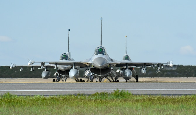 F-16s during a combat exercise at Hill Air Force Base, Utah, May 1, 2019. The active duty 388th Fighter Wing and Reserve 419th Fighter Wing, along with F-16 units from Holloman AFB, New Mexico, and Kunsan Air Base, Korea, conducted an integrated combat exercise where maintainers were tasked to continually provide ready aircraft and pilots took off in waves to simulate a large force engagement with enemy aircraft. (U.S. Air Force photo by R. Nial Bradshaw)
