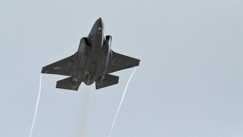 An F-35A takes off during a combat exercise at Hill Air Force Base, Utah, May 1, 2019. The active duty 388th Fighter Wing and Reserve 419th Fighter Wing, along with F-16 units from Holloman AFB, New Mexico, and Kunsan Air Base, Korea, conducted an integrated combat exercise where maintainers were tasked to continually provide ready aircraft and pilots took off in waves to simulate a large force engagement with enemy aircraft. (U.S. Air Force photo by R. Nial Bradshaw