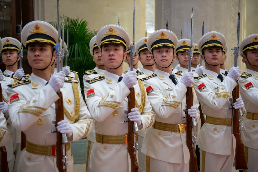 Chinese sailors march.