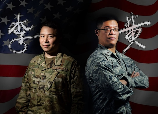 (from left to right) 2nd LTs Yuan-Xun Lee, Global Information Exploitation Squadron Open Skies project engineer and Derek Huang, Signal Analysis Squadron member, are positioned in front of an American flag with their names written in Chinese in their handwriting next to them. Both Huang and Lee are Chinese Americans serving at the National Air and Space Intelligence Center, Wright-Patterson AFB, Ohio. (U.S. Air Force graphic/Staff Sgt. Seth Stang)