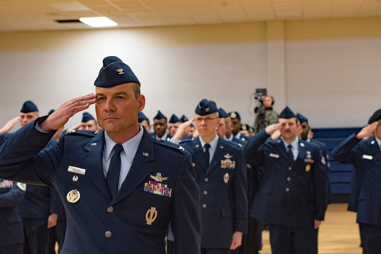 Members of the 460th Space Wing render a salute for the first time to Col. Devin Pepper, 460th SW commander, during the 460th SW change of command ceremony May 3, 2019, on Buckley Air Force Base, Colorado.