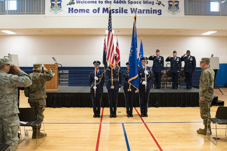 Mile-High Honor Guardsmen present the colors during the playing of the national anthem at the 460th Space Wing change of command ceremony May 3, 2019, on Buckley Air Force Base, Colorado.