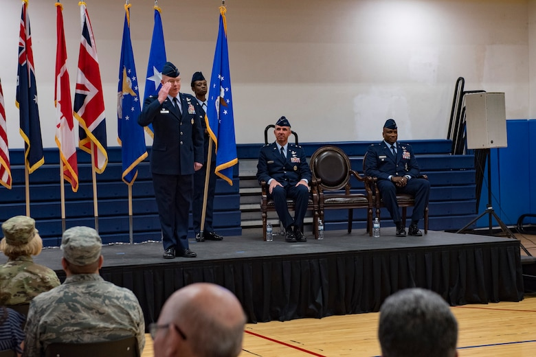 Col. Troy Endicott, 460th Space Wing outgoing commander, renders a final salute to the wing during the 460th SW change of command ceremony May 3, 2019, on Buckley Air Force Base, Colorado.
