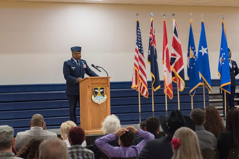 Col. Devin Pepper, 460th Space Wing commander, speaks to his wing for the first time during the 460th SW change of command ceremony May, 3, 2019, on Buckley Air Force Base, Colorado.