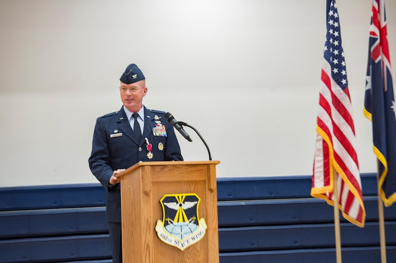 Col. Troy Endicott, 460th Space Wing outgoing commander, speaks to the wing for the final time as their commander during the 460th SW change of command ceremony May 3, 2019, on Buckley Air Force Base, Colorado.