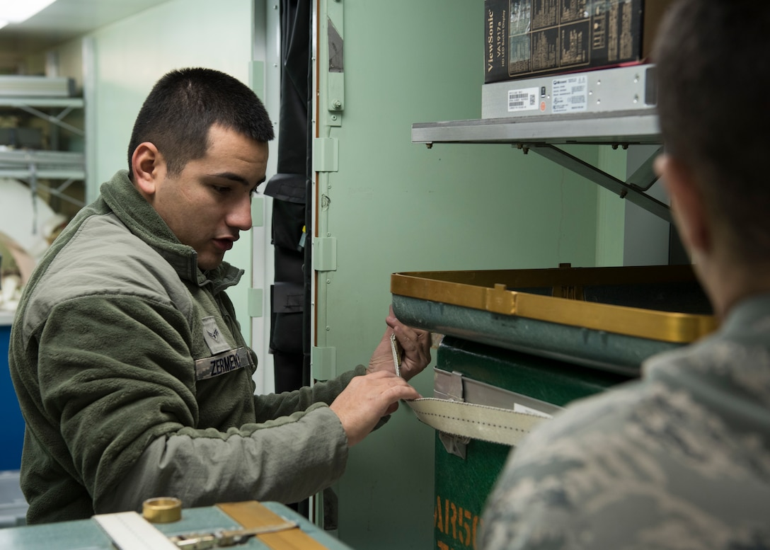Airman First Class Anthony Zermeno, 366th Component Maintenance Squadron precision measure equipment laboratoty technician, straps down diagnostic equipment in a Rapid Assistance Support for Calibration (RASCAL) Jan. 14, 2019, at Mountain Home Air Force Base, Idaho. The PMEL team restored and prepared this RASCAL, which is one of two of its kind in the Air Force, for its first deployment in 10 years to Joint Base Pearl Harbor - Hickam, Hawaii. (U.S. Air Force photo by Airman First Class Andrew Kobialka)
